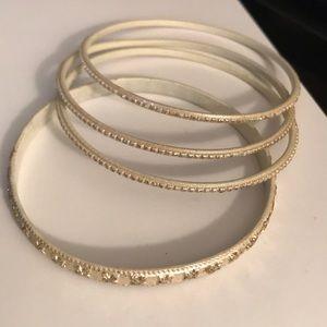 Indian Inspired White Glazed Glass Bracelets